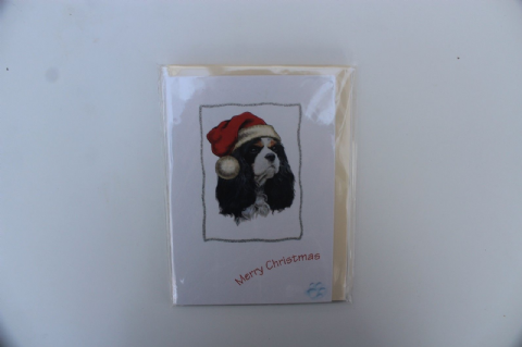 KING CHARLES CAVALIER CHRISTMAS GREETINGS CARD GLITTER
